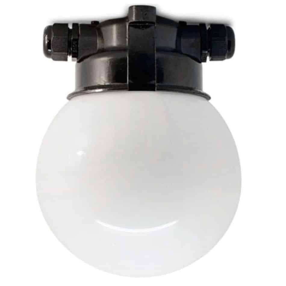 164351 PLAFOND STALLAMP MET BOL MELK GLAS ZWART BAKELIET