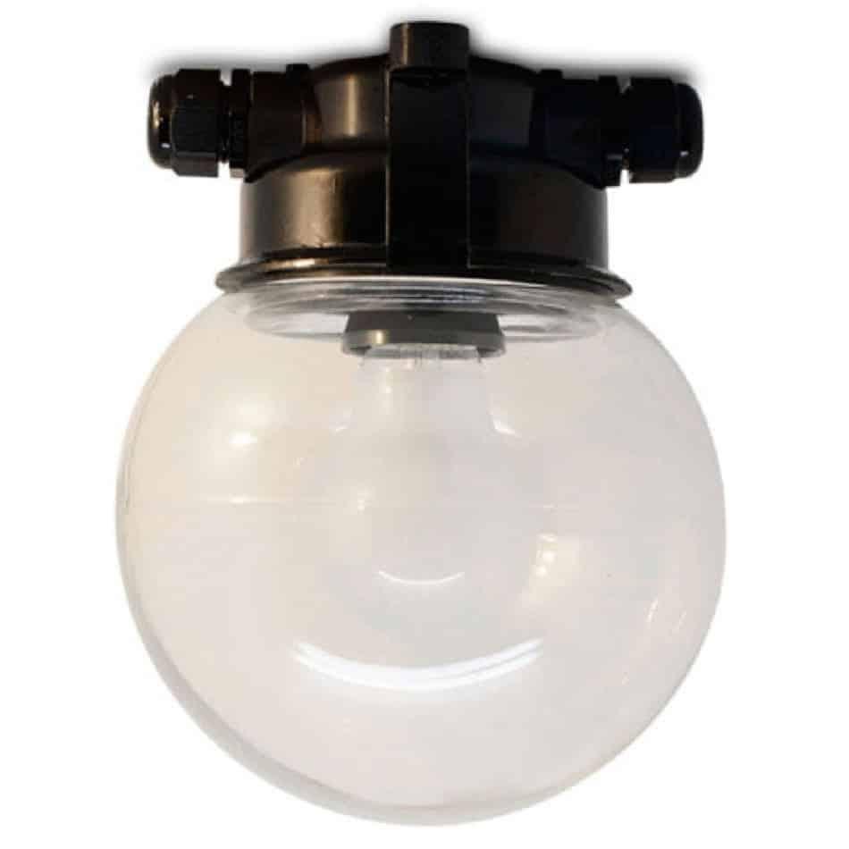 164352 PLAFOND STALLAMP MET TRANSPARANT BOL GLAS ZWART BAKELIET