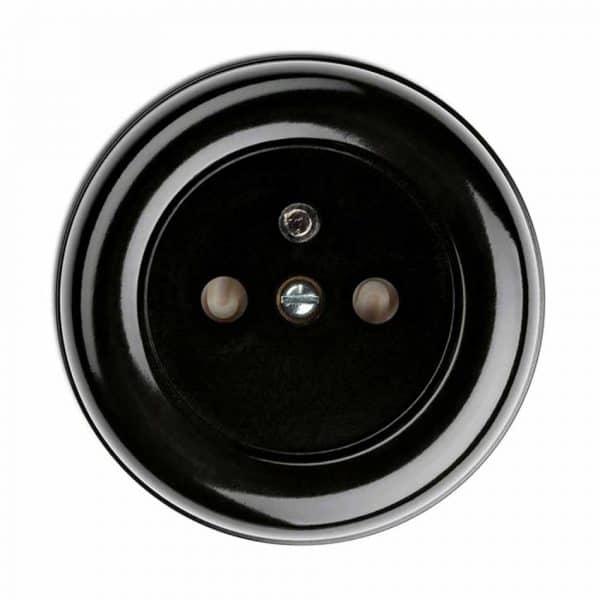 100063 Zwart Bakeliet Stopcontact Opbouw Penaarde