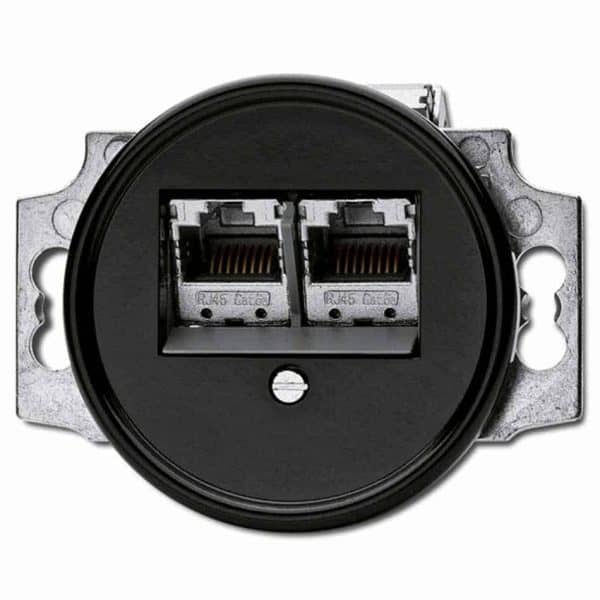 100722 Data RJ45 Wandcontactdoos inbouw zwart bakeliet