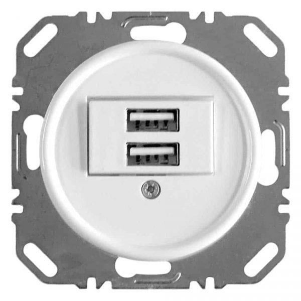 100729 USB Oplaadcontactdoos inbouw wit bakeliet