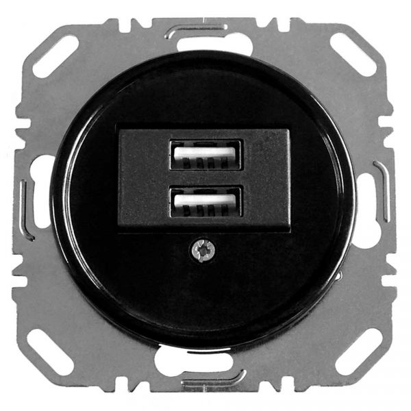 100720 USB Oplaadcontactdoos inbouw zwart bakeliet