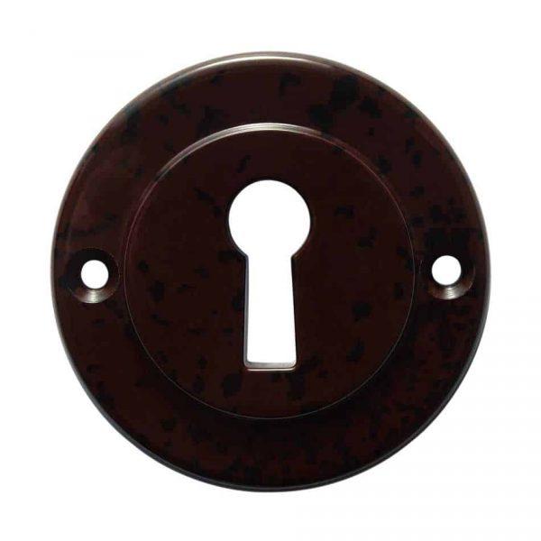 62611 Sleutelplaat met zichtbare bevestiging in bruin/zwart gevlamd bakeliet