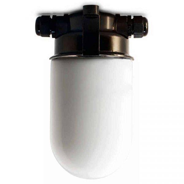 164361 PLAFOND STALLAMP MET MELK STOLP GLAS ZWART BAKELIET