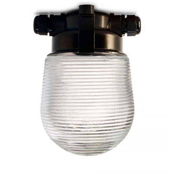 164362 Plafond Stallamp met geribbeld glas