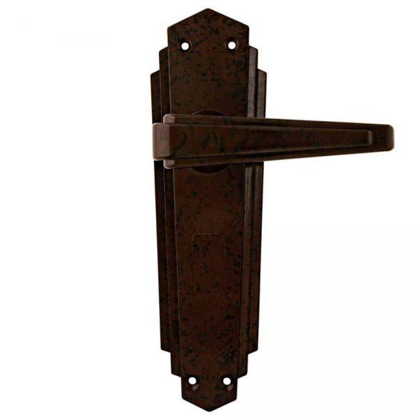 66321 Art Deco Deurklink Taps Toelopend Deurschild in Bruin/Zwart Bakeliet