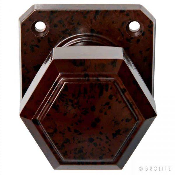Deurknop Zeskantig Vierkant Rozet Bruin Zwart Bakeliet