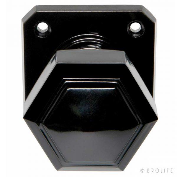 68172 Deurknop Zeskantig Vierkant Rozet Zwart Bakeliet