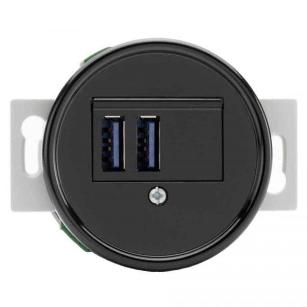 100876 USB Oplaadcontactdoos inbouw zwart bakeliet